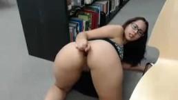 Library masturbation by cam model