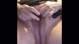 Longing for a stiff cock BBW wife wets pussy with vibrator. Closeup orgasm