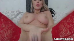 Blonde with amazing big natural tits fingers tight asshole