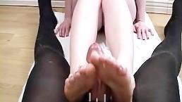 Mistress Footjob Teases Slave Cock