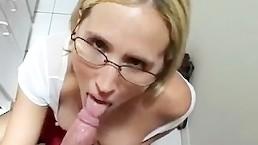 Sexy slutty schoolgirl blow job