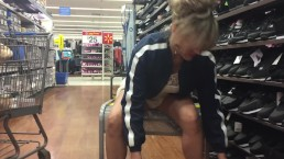 MILF Flashing pussy while trying on shoes in department store