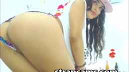 Cute teen latina with nice round big ass on webcam