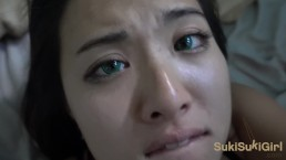18 yr old Green EYES ASIAN takes Cum ALL OVER her Face