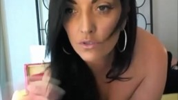 Hot brunette MILF naked masturbating fucking her ass and pussy with a dildo