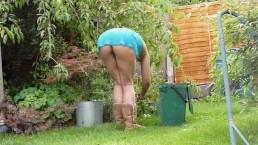 Flashing neighbours upskirt gardening