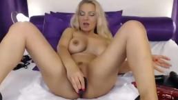 Busty blonde milf dildos pussy on cam