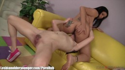 LesbianOlderYounger Raylene Munches Teen Pussy