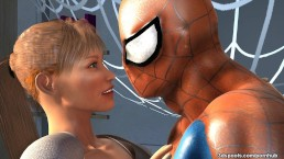 Mary J's tight juicy teen pussy gets drilled by spidey's cock