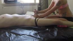 Handjob with twice cum and torture post orgasm