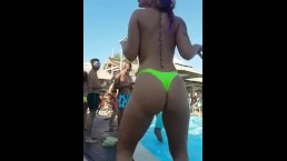 My girlfriend dancing for me at a pool party in Ibiza