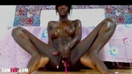 Glossy Ebony With Big Dildo Squirt