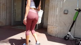Candid voyeur incredible ass in spandex gorgeous hottie