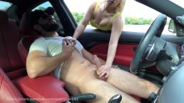 Dick Flash: Big tit MILF gives risky roadside handjob and eats my cum