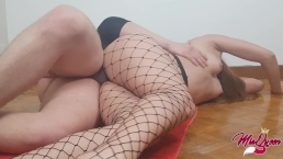 Perfect Teen Ass in fishnet Yoga At Home Sex on the floor…