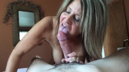 Gorgeous cougar deepthroats young cock