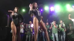 Beautiful woman dancing in shiny pantyhose and leotard